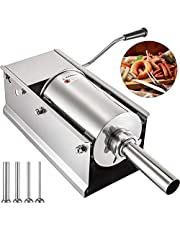 Happybuy Horizontal Sausage Stuffer Manual Sausage Maker With 5 Filling Nozzles Sausage Stuffing Machine For Home & Commercial Use Stainless Steel