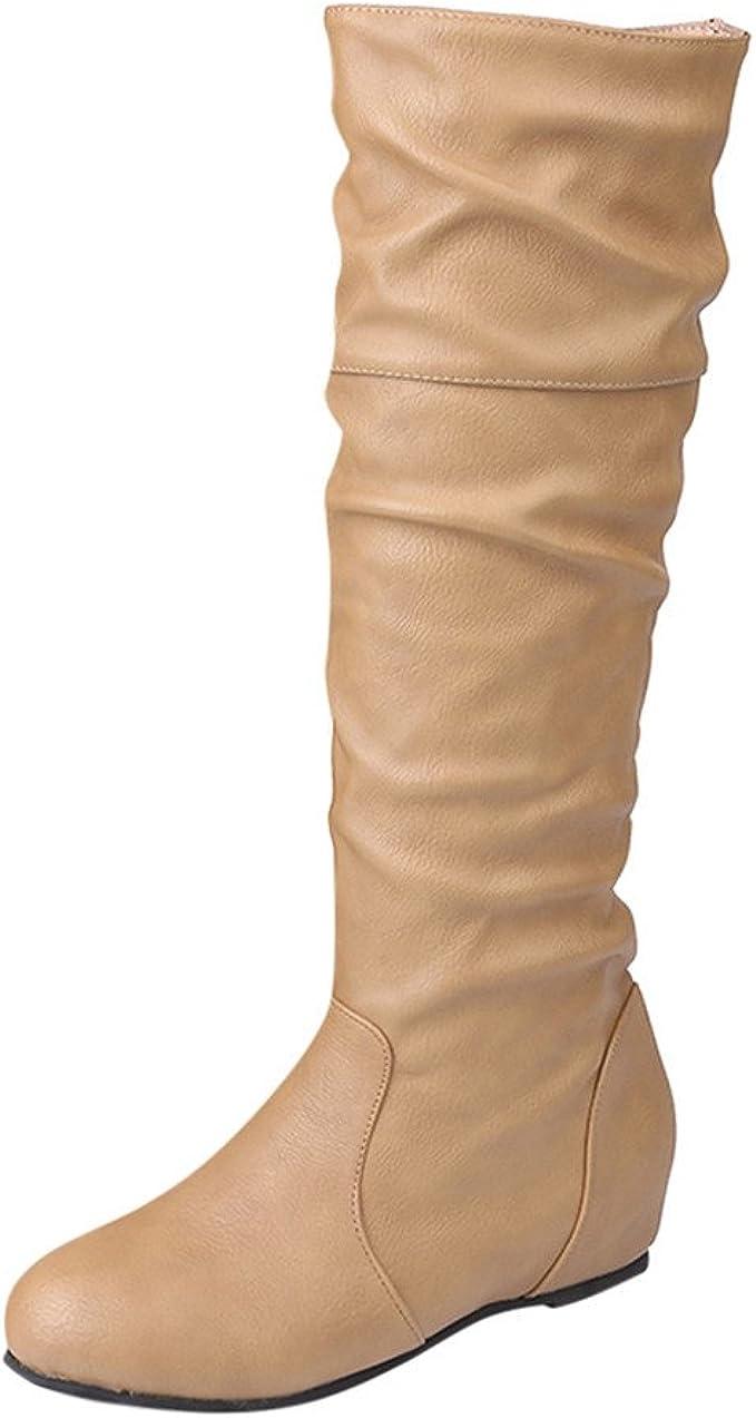 YiYLunneo Botas De Nieve Mujer Invierno Botines Color SóLido Puntiagudo Altas Largas Zapatos Casuales CN 36-43: Amazon.es: Ropa y accesorios