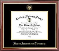 Florida International Univ. Golden Panthers - Embossed Seal - Mahogany Gold Trim - Diploma Frame