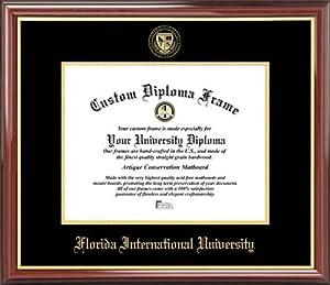Florida International Univ. Golden Panthers - Embossed Seal - Mahogany Gold Trim - Diploma Frame