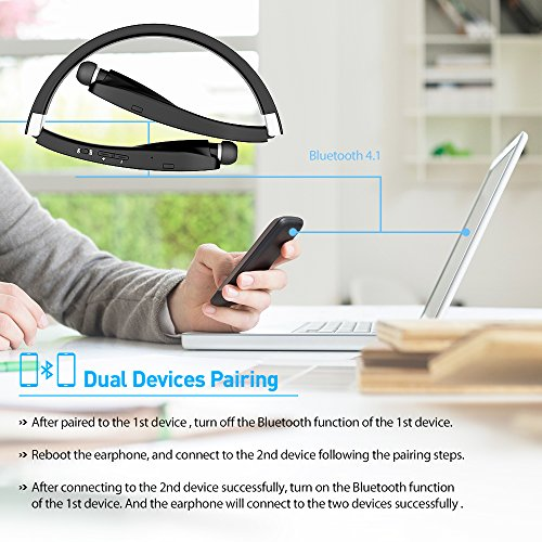 5a0d830fadc Bluetooth Headset, Bluetooth Headphones SX991-LBell Wireless Neckband  Design with Foldable Retractable Headset for iPhone X/ 8/ 7 Plus Samsung  Galaxy S9 ...