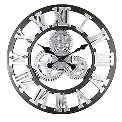 Large Retro European Wooden Home Gear Clock Roman Digital Scale Precision | Wall Decorative Creative Living Room Kitchen Bedroom | 5AA battery Diameter 45CM Black (L, Silver)
