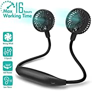 Portable Neck Fan, 2600mAh Battery Operated Sport Fan Ultra Quiet Hands Free USB Fan with 6 Speeds, Strong Win