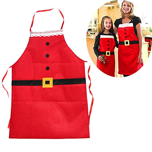 Womens Apron Kitchen Chef Bib Apron with 2 Pockets Cooking, Baking Apron, Uniform for Bartender, Waiter, Waitress, Coffee shop, Restaurant-Chambray for Christmas -2 (Red Cocktail Waitress Costumes)