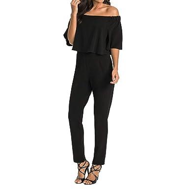b733d5289c6 Sinfu Women Jumpsuit - Women s Strapless Popover Ruffled Terry Long Jumpsuit  Beach Romper Trousers (Black