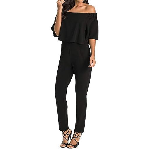 a22227b2928d BETTERUU Women s Pants Coveralls Tops Off The Shoulder Striped Pants High  Waist Pants Casaul (Black