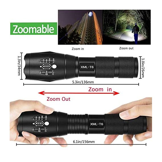 ABTRIX WITH AB LED Torch, Super Bright 2000 Lumen Zoomable LED, Adjustable Focus Tactical Flashlight with 5 Modes