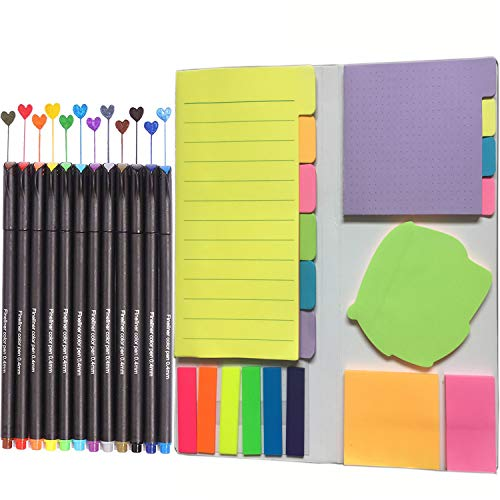 Colored Index Dividers - Colored Divider Sticky Notes Bundle Set,Prioritize with Color Coding Dotted Notes Ruled Lined Blank Notes Neon Color Index Tabs,Total 402 Sheets with 12 Pack Fineliner Pen Set