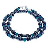 Timeless-Treasures Turquoise, Blue Druk, Hematite (Hemalyke) & Sterling Silver Men's Beaded Necklace