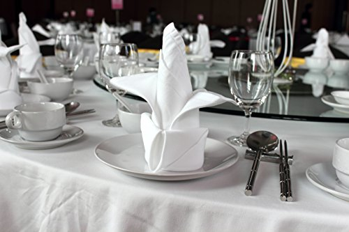 Atlas 96 Pieces White Dinner Napkins for Banquets & Restaurants, Commercial Grade 100% Polyester with Soft Cotton Touch, 20''x20'', Made in USA, Wholesale Priced Bulk Packing by Atlas