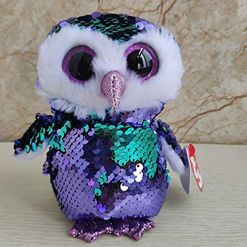 MANGMOC Ty Beanie Boos Sequin Animal Dragon Plush Toys Big Eyes Eyed Plush Toys Doll Cat Owl Fox Dog Best Gift for Children 15Cm U Must Have Gift Bags Childrens ()
