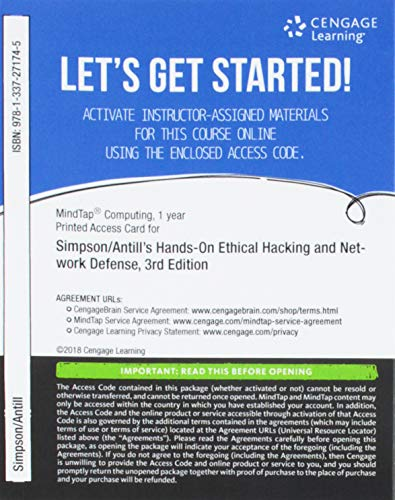 MindTap Information Security, 1 term (6 months) Printed Access Card for Simpson/Antill's Hands-On Ethical Hacking and Network Defense, 3rd