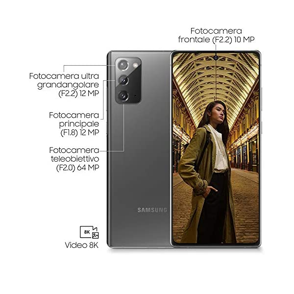 "Samsung Galaxy Note20 Smartphone, Display 6.7"" Super Amoled Plus Fhd+, 3 Fotocamere Posteriori, 256Gb, Ram 8Gb, Batteria 4300 Mah, Dual Sim + Esim, Android 10, Mystic Gray [Versione Italiana] 4"