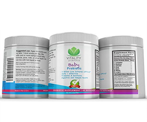 Baby Probiotic - 2 billion Live Cultures per Serving (Lactobacillus & Bifidum bugs). Safe+Effective and Promotes & maintains digestive and immune health. Flavorless by Baby Probiotics