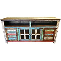Hiend 80 Inch Rustic Western Multicolor Antique Distressed Reclaimed Wood Look TV Stand Solid Wood Already Assembled (80 inches)