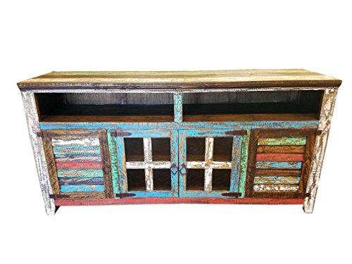 RUSTIC FOR LESS Hiend 60 Inch Rustic Western Multicolor Antique Distressed Reclaimed Wood Look TV Stand Solid Wood Already Assembled (60 inches)