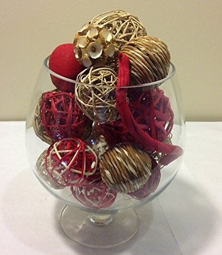 Red & Tan Rattan Decorative Spheres