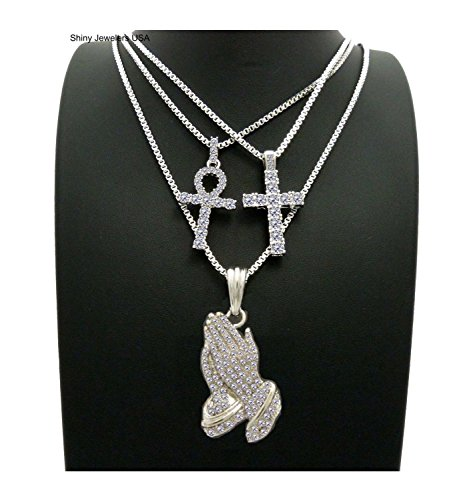 MENS ICED OUT GOLD JESUS PRAYING HAND, CROSS, ANKH, RED RUBY PENDANT BOX CHAIN NECKLACE SET OF 3 (Box chain Silver) (Silver Set Diamond Pendant)