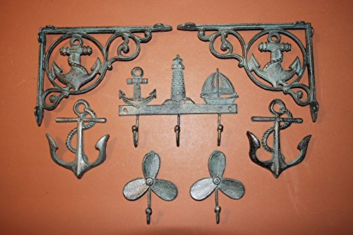 Mariner Decor Gift Package Bundle, Anchor Shelf Brackets, Boat Propeller Wall hooks, Anchor Lighthouse Wall hook, 7 Items