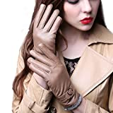 Ladies' Leather Gloves Winter New Warmer Plus Velvet Sheepskin Gloves Outdoor Driving Ride Leather Gloves (golden)