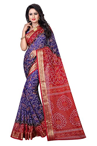 Dealsure Women's Art Silk Bandhani Saree (Purple)