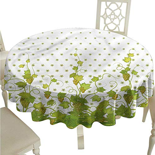 ScottDecor Dinning Tabletop Decoration Vineyard,Retro Garden Flowers Jacquard Tablecloth Round Tablecloth D 50