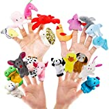 RIY 20pcs Story Toys Finger Puppets for Kids Toddlers Cartoon Animal Soft Velvet Dolls Props