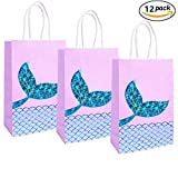 Mermaid Gift Bags Mermaid Party Supplies Favors Bag Glitter Treat Bags for Under the Sea Party Mermaid Gifts for Girls Set of 12 (Purple Mermaid 12pcs)