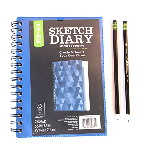 """Sketch Diary Book Journal and Two Ticonderoga Pencils (World's Best Pencil) Gift Set Bundle 5.5"""" x 8.5"""", 70 pages"""