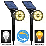 #3: Solar Lights Outdoor Upgraded Motion Sensor with 8 White and 8Warm LED Solar Spotlight Adjust Wall Light Landscape Security Lighting Auto On/Off for Patio Yard Garden Driveway Pathway Pool Area(Pack2)
