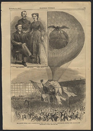 HARPER'S WEEKLY 11/25 1865 Prof Lowe Balloon Ascension NYC by Mathew Brady -