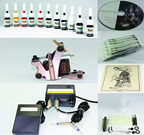Complete Tattoo Kit Machine Gun 11 Color (Double Black) Inks + Needles + Power Supply (T2) -