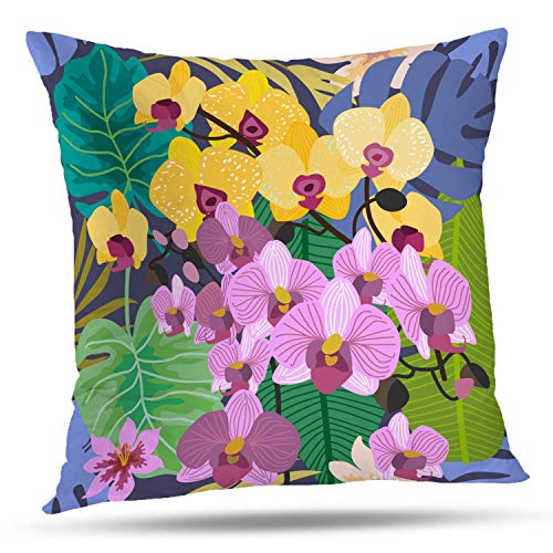 Batmerry Spring Pillows Decorative Throw Pillow Covers 18x18 Inch, Hawaiian Flowered Shirt Pattern Pink Green Double Sided Square Pillow Cases Pillowcase Sofa Cushion