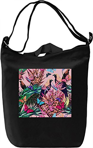 Bird Pattern Borsa Giornaliera Canvas Canvas Day Bag  100% Premium Cotton Canvas  DTG Printing 