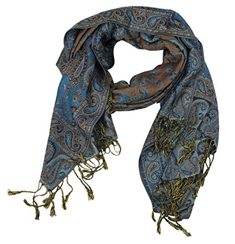 Peach Couture Elegant Double Layer Reversible Paisley Pashmina Shawl Wrap Teal Scarf