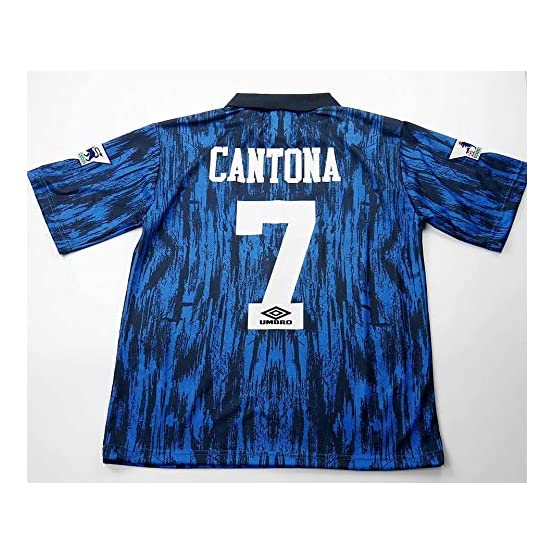 Eric Cantona#7 Manchester United Away Retro Soccer Jersey Full Premier Patch