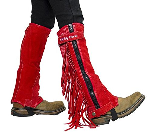 Derby Originals Kids Suede Leather Half Chaps with Fringes I Love My Horse, Red, Large]()