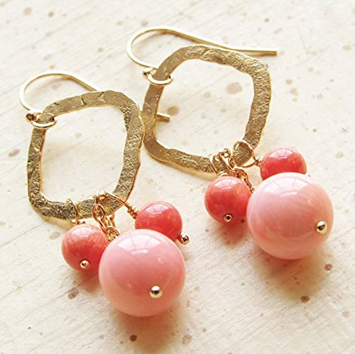 - Coral Earrings Pink Peach 14kt Gold Filled Hammered Square Hoop