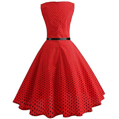 Maniche Abito Donna Sera Prom Dimensione Stampa Party Dress Casual Estivi Large Senza colore Rosso Point Vintage Abiti Wave Swing Da Camicetta Aderente Rosso zz65wqrf