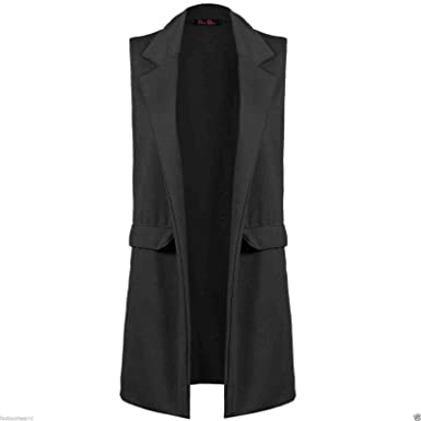 38dd79e7cf8911 New Womens Ladies Crepe Sleeveless Waistcoat Long Blazer Cardigan Jacket  Top (16 18 UK