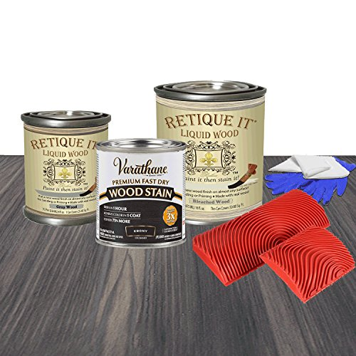 Retique It RETQ-SKit-Ebony-GrayOverBleached by by Renaissance Liquid Wood, 16oz Pint, 10 Gray Over Bleached ()
