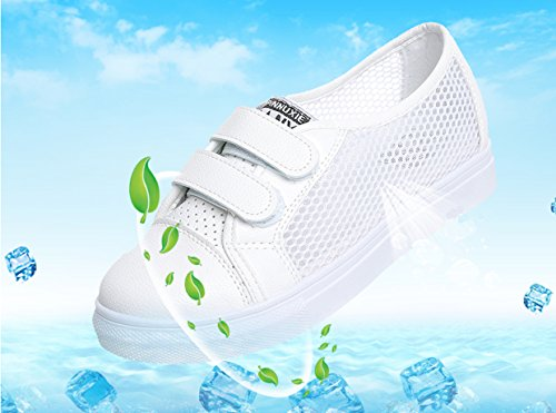 VECJUNIA Ladies Summer Breathable Mesh Trainers Lightweight Walking Casual Shoes White VrWLO
