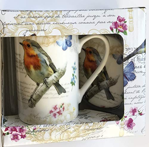 - Kent Pottery 2PC Mug With Matching Lid - Bird Botanical & Blue Butterfly