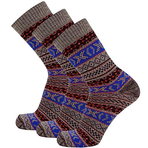 Boho Merino Wool Hiking Socks - Crew Outdoor Moisture Wicking Performance Socks, Anti-Microbial, Cushioned (S/M, Brown-Blue-Burgundy)