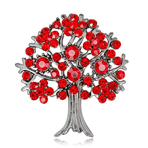 (Soulbreezecollection Valentine's Mother's Day Red Tree Heart Pin Brooch Love Gift Charm for Mom Ladies)