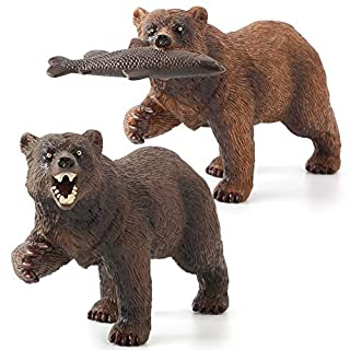 Fantarea 2 PCS Wild Life Jungle Animal Action Figures Model Bear Eating Fish Party Favors Supplies Cake Toppers Set Toys for 5 6 7 8 Years Old Boys Girls Kid Toddlers