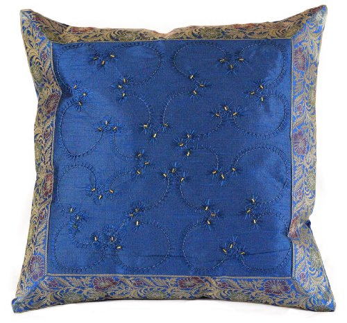"""Hand Embroidered 16"""" X 16"""" Accent Pillow Cover, Set of 2 (Blue)"""