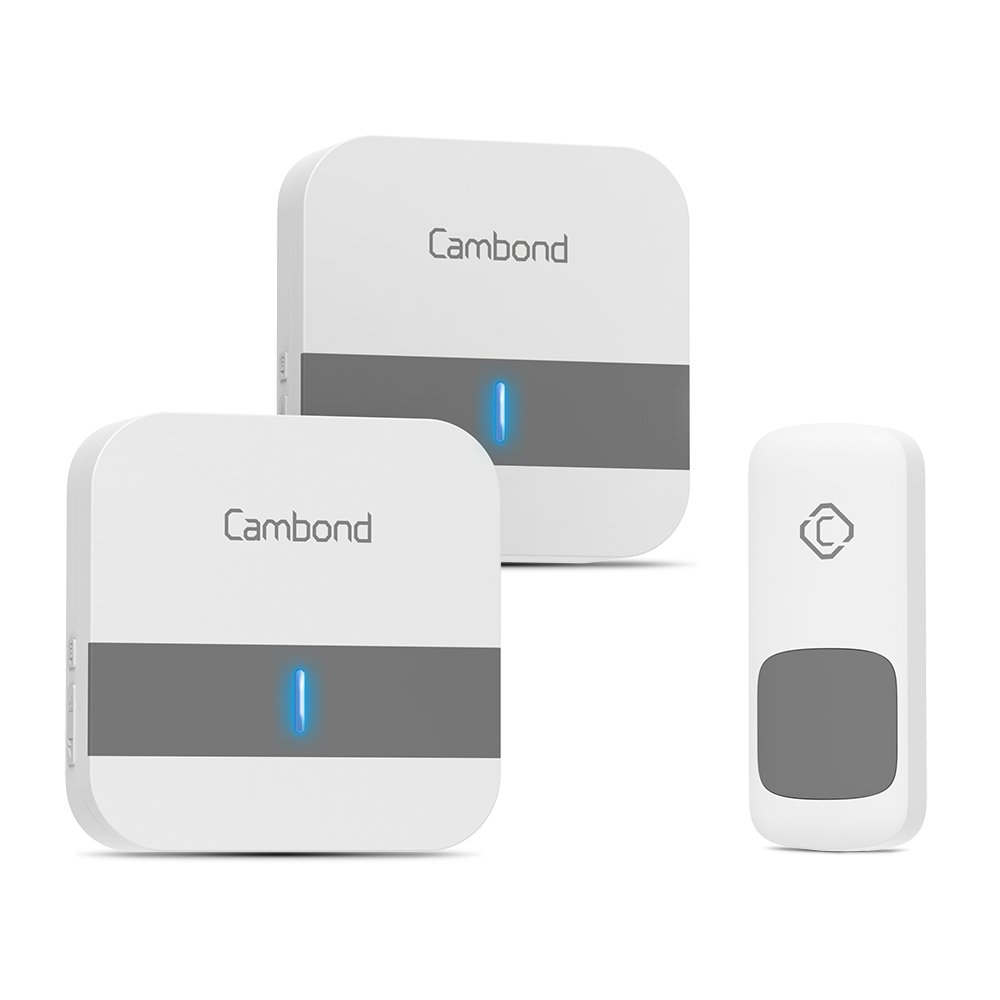 Wireless Doorbell with 2 Receivers, Cambond Door Chime 1000ft Range, 1 Battery Operated, Waterproof Door Push Button, 52 Melodies, 4 Volume Levels Door Bell for Home Front Door, Business Office
