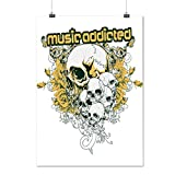 Music Addicted Cult Skull Head Matte/Glossy Poster A1 (24x33 inches) | Wellcoda offers