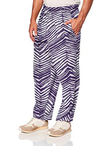 Zubaz Mens Classic Zebra Printed Athletic Lounge Pants, Purple/White, M